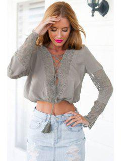 Deep V Neck Lace Spliced Lace-Up Crop Top - Army Green L