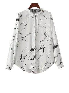 Polo Collar Black Ink Print Long Sleeve Shirt - White L
