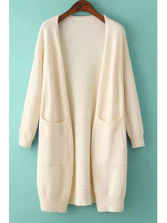Solid Color Two Pocket Collarless Cardigan - Off-white