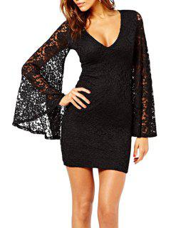 V Neck See-Through Solid Color Lace Dress - Black M