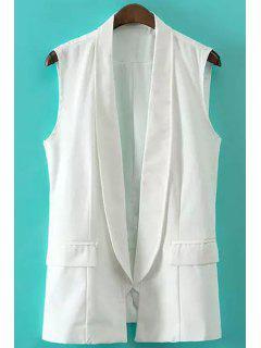 Solid Color Shawl Collar Waistcoat - White L