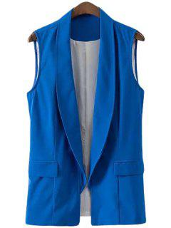 Solid Color Shawl Collar Waistcoat - Sapphire Blue L