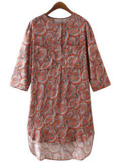 Tiny Floral Print Buttons Fly 3/4 Sleeve Dress - Deep Red Xl