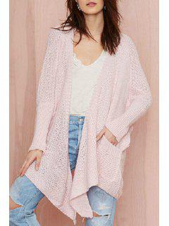 Pocket Design Asymmetrical Pink Cardigan - Pink