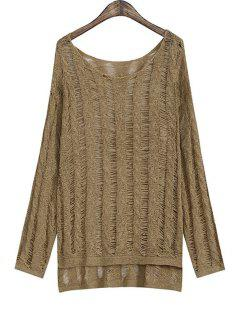Solid Color High Low Long Sleeve Sweater - Khaki