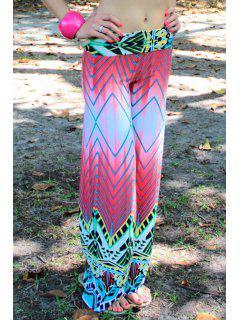 Chevron Stripes Wide Leg Colored Pants - Xl