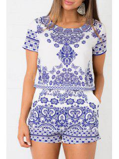 White And Blue Crop Top + Porcelain Print High-Waisted Shorts Twinset - Blue Xl