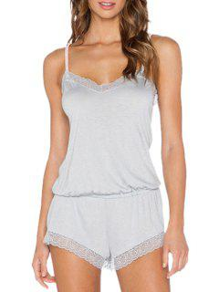 Light Gray Spaghetti Straps Playsuit - Light Gray M