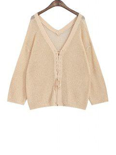 Tie Up Solid Color Long Sleeve Cardigan - Apricot