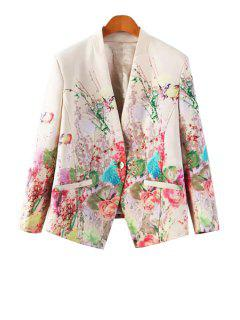 Floral Print One Button Pocket Design Blazer - White Xl