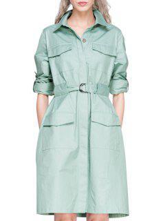 Light Green Shirt Neck Long Sleeve Dress - Light Green 2xl