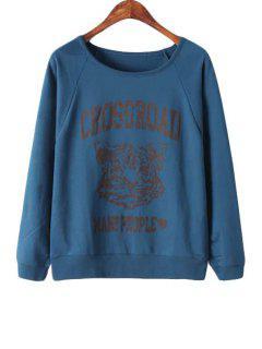 Letter Tiger Print Long Sleeve Sweatshirt - Cadetblue