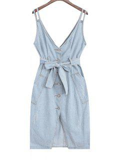 Denim Pinafore Midi Dress With Belt - Light Blue