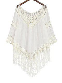 Hollow Out Tassels Spliced Solid Color Blouse - White