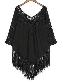 Hollow Out Tassels Spliced Solid Color Blouse - Black