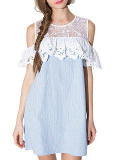 Lace Spliced Hollow Out Striped Dress - Light Blue L