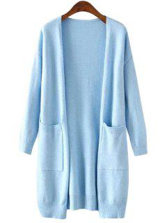 Collarless Pockets Solid Color Long Sleeve Cardigan - Azure