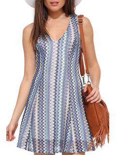 Zig Zag Print V Neck Sleeveless Dress - Turquoise 2xl