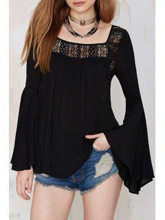 Black Lace Spliced Square Neck Blouse - Black Xl