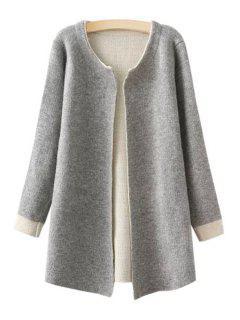 Jewel Neck Color Block Long Sleeve Cardigan - Gray