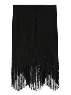 Black Tassels Spliced Asymmetrical Bodycon Skirt - Black