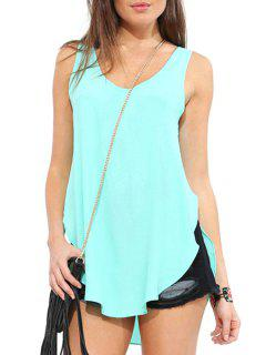 Scoop Neck Backless Solid Color Tank Top - Blue 2xl