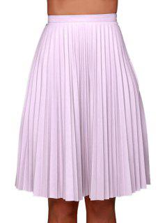 Purple Pleated High Waisted Midi Skirt - Purple L
