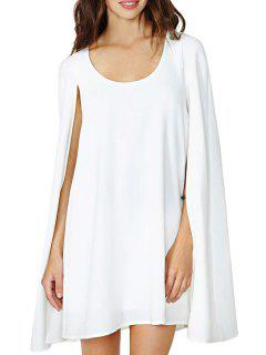 Solid Color Sleeveless Cloak Dress - White Xl