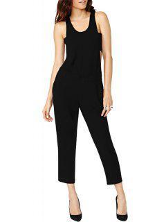 Black Cut Out Sleeveless Jumpsuit - Black S