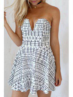 Print Strapless A Line Dress - White L