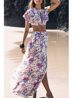 Short Sleeve Crop Top And Floral Print Skirt Suit - Peach Red M