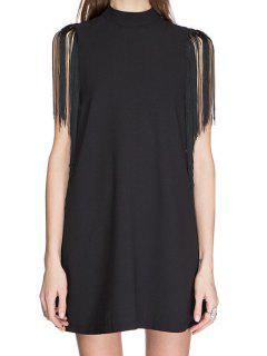Stand-Up Collar Fringe Splicing Sleeveless Dress - Black M
