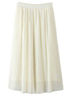 Pleated Chiffon A Line Skirt - White L
