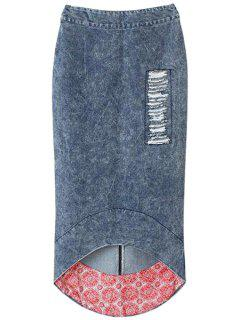 Bleach Wash Fray High Low Skirt - Deep Blue S
