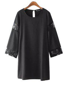 Lace Splicing Scoop Neck Long Sleeve Dress - Black Xl