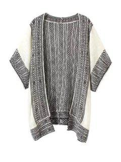 Argyle Pattern Stripe Half Sleeve Cardigan - White And Black S
