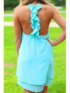 Solid Color Layered Ruffles Chiffon Dress - Blue Xl