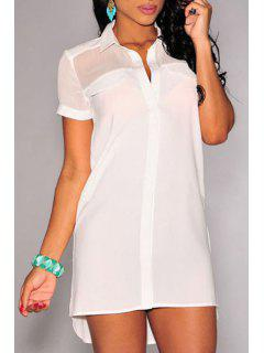 High Low See-Through Short Sleeve Dress - White M