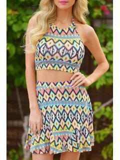 Halter Open Back Crop Top + Argyle Print Skirt Twinset - Xl