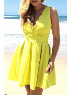 Yellow Plunging Neck Sleeveless A Line Dress - Yellow S