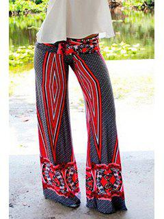 Wide Leg Geometric Print Pants - Red L