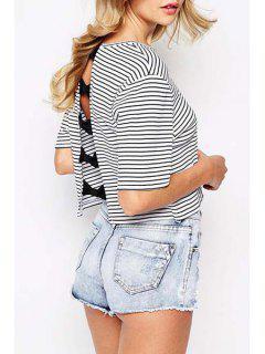 Stripe Back Bowknot Splicing Short Sleeve T-Shirt - Stripe S