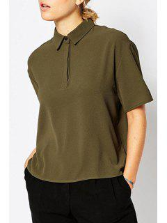 Polo Collar Solid Color Short Sleeve T-Shirt - Army Green S