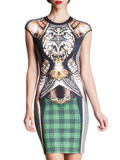 Plaid Print Spliced Short Sleeve Dress - Black L