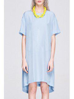 Back Cross Slit Short Sleeve Dress - Blue Xl