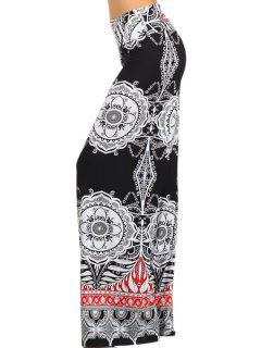 Wide Leg Tribal Pattern Exumas Pants - White And Black Xl