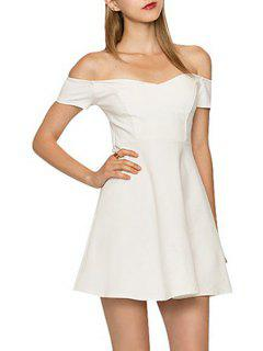 Slash Neck Backless Hollow Out Dress - White Xl