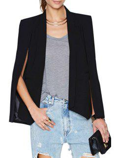 Shawl Collar Solid Color Splicing Blazer - Black S