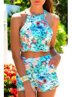Halter Crop Top + Floral Print Shorts Twinset - Azure Xl