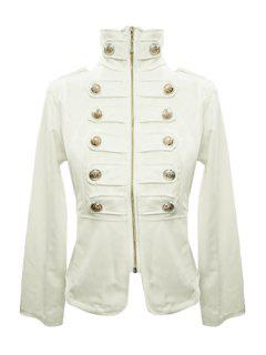 Stand-Up Collar Solid Color Zipper Fly Coat - White Xl